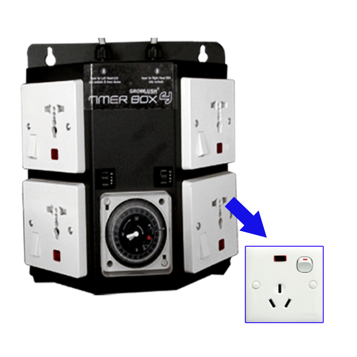 4 outlet budget timer box - with plug - GL Multitimer
