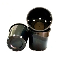 Pot 200mm Black with drainage holes - Slimline - c40