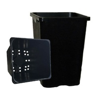 Tall Square Pot 290mm - 290mm square black 290x290x400mm - with holes