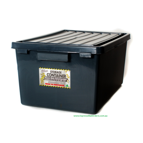 80L Stashaway crate with lid black kitab stack with lid only/nest 65x45cm black