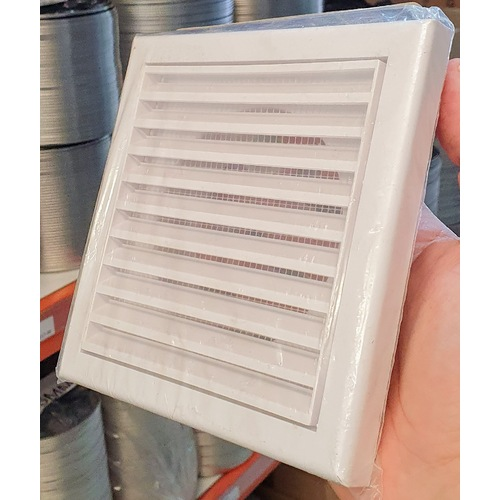 wall external grille to fan duct 150mm white